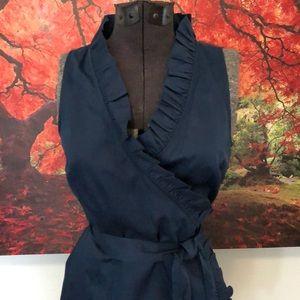 Stunning blue Ann Taylor LOFT faux wrap dress.